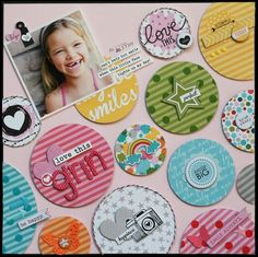 Add like coloured embellishments to like coloured papers for a cohesive look that still includes lots of embellishments and keeps the focus on the picture.