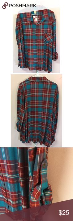 """Plus Size Plaid Blouse Brand new without tag. Size 3X. Bust approx 58"""" length approx 31.5"""" arm length approx 25"""". Rayon Tops Blouses"""