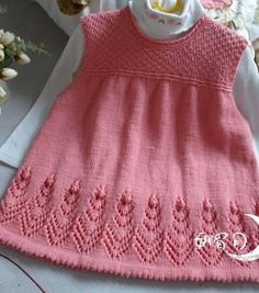 Pattern for the bottom of the dress - Babykleidung Diy Crochet Sweater, Baby Sweater Knitting Pattern, Baby Knitting Patterns, Baby Patterns, Crochet Baby, Knit Baby Dress, Knitted Baby Clothes, Diy Crafts Knitting, Knitting For Kids