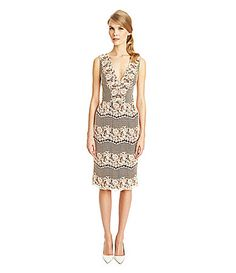 ERIN erin fetherston Ivy Dress #DillardsFrom ERIN erin fetherston, this lace sheath dress features: deep V-neckline sleeveless styling accentuated waist line sheath silhouette midi length back zipper cotton/nylon dry clean rose
