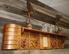 Adding hooks and/or shelves to a vintage toboggan turns it into a purposeful item. Cabin Furniture, Rustic Furniture, Cool Furniture, Western Furniture, Furniture Design, Western Decor, Rustic Decor, Rustic Wood, Sled Decor
