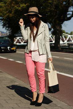 Pink pants + grey jacket