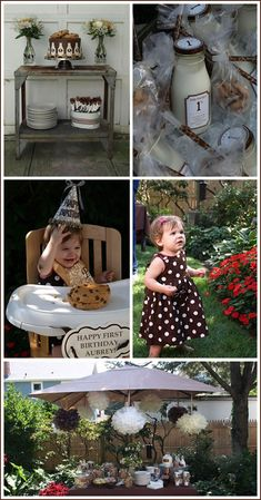 Milk and Cookies for a first birthday party... love this.. maybe add pink
