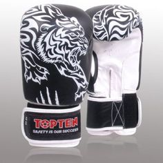 Top Ten Superfight 3000 Boxing leather Gloves 10oz - Black. Official Olympic training gloves. Made with shock absorbing Bayfill® padding and made from genuine leather, 1.2mm thick. Velcro fastening strap. These gloves are great protection for the hands from the brand that pioneered technical safety boxing equipment. Great for Bag work, Hook and Jab pad pads and technical ring work. 10oz. Black.