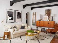 Stylist Brady Tolbert Gets Major Style Points for High-Impact, Low-Cost Projects in His L. Apartment — Better Homes & Gardens Retro Sofa, Better Homes And Gardens, Storage Solutions, Design Trends, Paint Colors, Home Improvement, Home And Garden, Backyard, Living Room