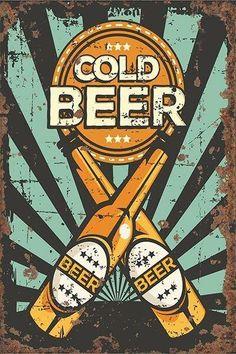 Vintage Metal Signs, Vintage Walls, Retro Kunst, Poster Festival, Retro Signage, Beer Art, Retro Logos, Design Graphique, Graphic