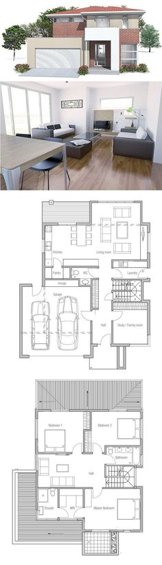 Plan Moderna Casa con tres dormitorios. Plano de planta de ConceptHome.com. Arquitectura Moderna