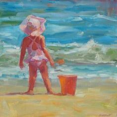 Beach Baby Painting (Hey that's mine! Baby Painting, Painting & Drawing, Pictures To Paint, Art Pictures, Paintings I Love, Beach Paintings, Painting People, Beach Art, Watercolor Paintings