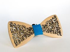 Bow tie wooden, handmade, natural wood, Natural color, use for wedding, bow tie on a gift,  on every day,  size 5*11 cm.