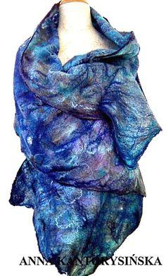 felted scarf shawl SKY handmade accessories free by kantorysinska, $124.00