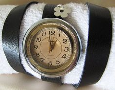 Wrap Watch with a vintage look . Handcrafted black leather strap wraps around your wrist.