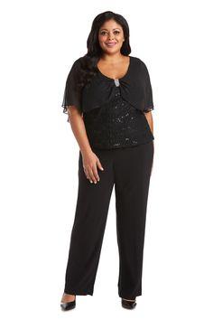 R&M Richards Plus Size Lace Caplet Pant Set 7029W   The Dress Outlet Slacks Outfit, Formal Pant Suits, Petite Jumpsuit, Fishtail Dress, Special Occasion Outfits, Plus Size Pants, Miss Dress, Fashion Mask, Printed Denim