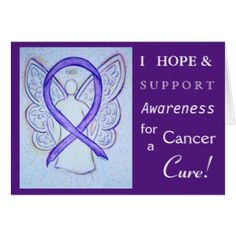Cancer Awareness Violet Ribbon Angel Greeting Card