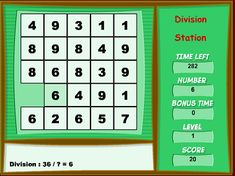 """This is an image from this resource on the Internet4Classrooms' """"Fourth Grade Interactive Math Skills - Division"""" resource page:    Division Station.    Find the missing number in the pattern. Click on the squares to divide the numbers so that they equal the value under the word """"Number""""."""