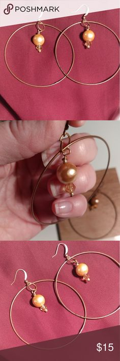 ❤ Handcrafted brass hoop earrings ❤ My vision: turn these small distressed bracelets into beautiful and unique dangle earrings! I added creamy and clear amber beads to enhance the fun dangle and movement in these earrings. Enjoy!! handcrafted by me Jewelry Earrings