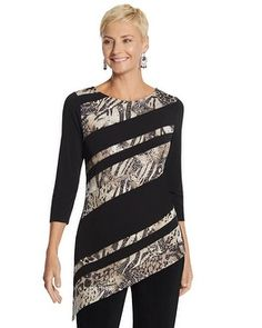Chico's Travelers Collection Shimmering Animal Spliced Sierra Top #chicos