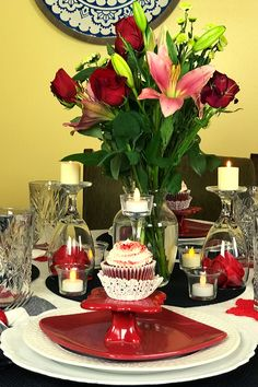 Red White and Black solid colors with black and white buffalo plaid napkins. Roses and mixed floral bouquet centerpiece No Valentine, Valentine Theme, Valentine Table Decor, Glass Candle Holders, Candle Set, Romantic Table Setting, Valentine's Cards For Kids, Centerpieces, Table Decorations