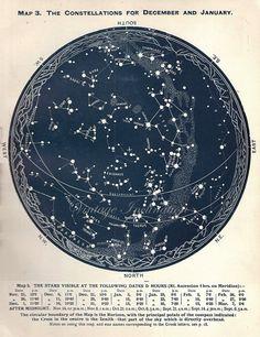Vintage 1942 DECEMBER JANUARY STARS - Antique Star Map Astronomy Southern Constellations dark blue star chart star zodiac constellation map