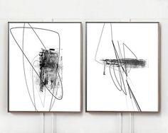 Abstract Art, Black White Minimalist Art Prints, Art Prints Set, Art Prints Download, Fine Art, Brush Stroke Art Prints, Minimal Line Art
