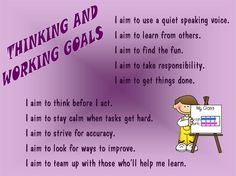 Thinking & Working Goals - prompts for kids to set their own classroom goals