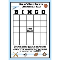 Sports Themed Baby Shower Games | 24 BINGO Cards for Baby Shower Sport Theme by partyplace on Etsy