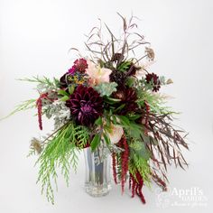 pink and burgundy wild and rustic bridal bouquet Flowers by April's Garden in Durango, CO http://www.durangoflorist.com/