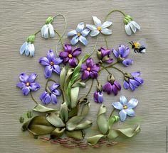 """Купить Картина вышитая лентами """"Чарующая музыка весны"""" - картина, панно, миниатюра, картина с цветами"""