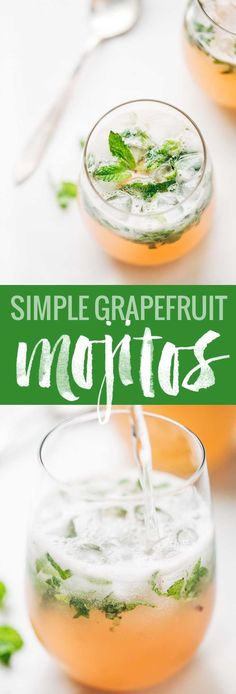 Grapefruit Mojitos - the perfect recipe for two! Grapefruit juice, lime juice, honey, mint leaves, white rum, and sparkling water. Naturally sweet and pink! #mojitorecipes