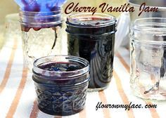 Canning Recipes from blackberry jam to more interesting jam recipes like Sweet Cherry Vanilla Jam. I've compiled all my canning recipes in one page. Jam Maker, Jelly Maker, Cherry Jam Recipes, Jelly Recipes, Blueberry Recipes, Frozen Cherries, Sweet Cherries, Canning Jars, Canning Recipes