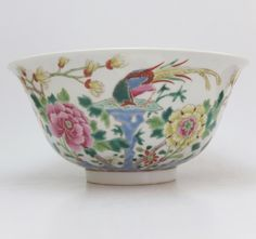 Large famille rose bowl with pheasant (Estimated late 19th to early 20th century)