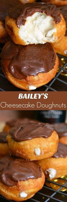 - Bailey's Cheesecake Doughnuts. Easy doughnuts are filled with Bailey's cheesecak… Bailey's Cheesecake Doughnuts. Easy doughnuts are filled with Bailey's cheesecake mixture and topped with Bailey's flavored milk chocolate ganache. No Bake Desserts, Just Desserts, Delicious Desserts, Dessert Recipes, Yummy Food, Appetizer Recipes, Donut Recipes, Baking Recipes, Cookie Recipes