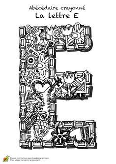 Coloriage abecedaire crayonne lettre e sur Hugolescargot.com - Hugolescargot.com
