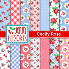 Shabby Chic Digital Paper Cecily Rose - Pink and Lavender Blue - Cath Kidston style - for invites, card making, digital scrapbooking