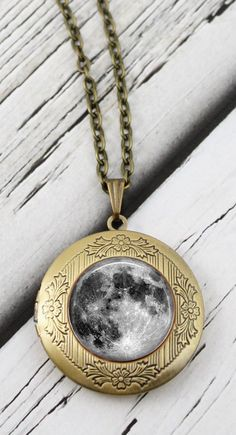 "Moon Locket Necklace...""I love you to the moon and back"""