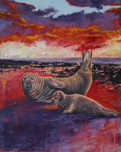 ARTFINDER: Crimson Dawn by Zoe Norman - This oil on canvas was painted from sketches and photographs taken at Hunstanton Beach on the North Norfolk coast. The grey seal and pup are a common sight a...