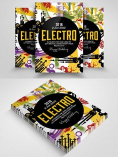 Electro Party  Poster Flyer . Flyer Templates. $6.00