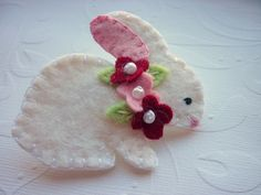 Felt Bunny Brooch Beaded Pink Red Flowers