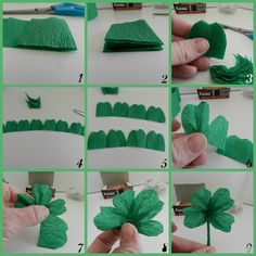 4 leaf clover from crepe paper & tooth pick