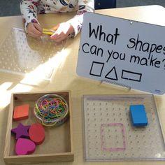 """Shape inquiry geo boards kindergarten - Mrs. M Dattilo (@wonderful_wonderings) on Instagram: """"Geoboard exploration. #earlylearning101"""""""