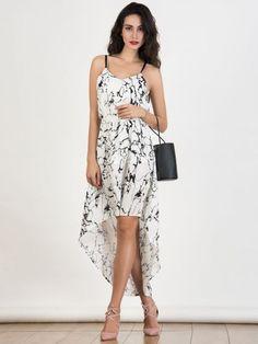 fc0ee7a77ecf White V-neck Strappy Tie Waist Hi-lo Dress