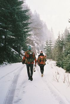 Snowy Hike. Adventure. Outdoor photo. Get outside in nature. Photography Inspiration. Pine Trees.  Backpacks.