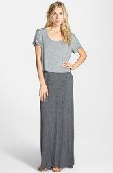 Splendid Short Sleeve Overlay Maxi Dress