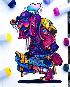 Graffiti Art Drawings, Graffiti Doodles, Graffiti Wall Art, Dope Cartoon Art, Cartoon Kunst, Vexx Art, Doodle Characters, Doodle Art Designs, Copic Drawings
