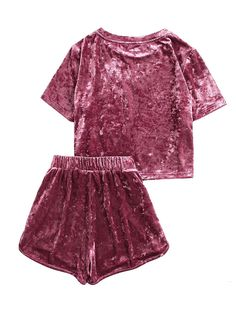 SHEIN Women Two Piece Outfits Purple Short Sleeve Pocket Front Crushed Velvet Top and Bow Shorts Set Women Sets Clothes Crushed Velvet Top, Velvet Tops, Pink Velvet, Velvet Cream, 2 Piece Outfits, Two Piece Outfit, Cute Sleepwear, Summer Outfits, Cute Outfits