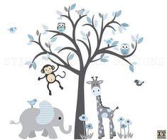 Boy Room Nursery Wall Decor, Safari Wall Art, Tree Decal, Nursery Wall  Decor, Blue Chevron, Pale Denim Design. Jungen Zimmer Kinderzimmer  Wandgestaltung ...