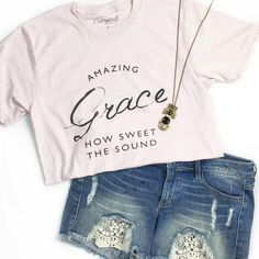 """This is a soft lavender blended unisex tee with our """"Amazing Grace How Sweet The Sound"""" design. FIT: Unisex - Runs true to size. *Soft Lavender with vintage charcoal design."""