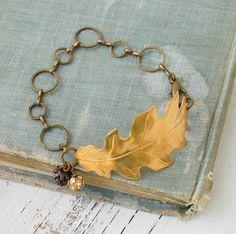 Golden LEAF BRACELET Oak Leaf Pine Cone Nature by redtruckdesigns