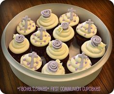 Pretty purple communion cupcakes - by Rachel's Cakes:  http://www.facebook.com/the.rachels.cakes