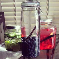 Homemade vodka infusions:  glass jars from IKEA. Infuse for 3-4 weeks, shaking every 2-3 days. Strain through colander and cheesecloth. Give away in IKEA French lemonade bottles as a great gift!