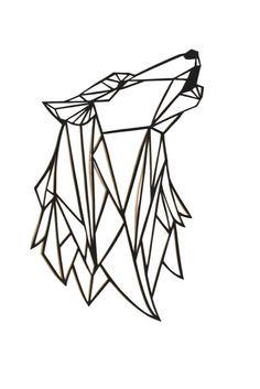 Loup Papercut Art original: 7x5.5 géométrique papier original hurlant tête de loup, noir découpé art mural, silhouette design moderne triangulaire 2D
